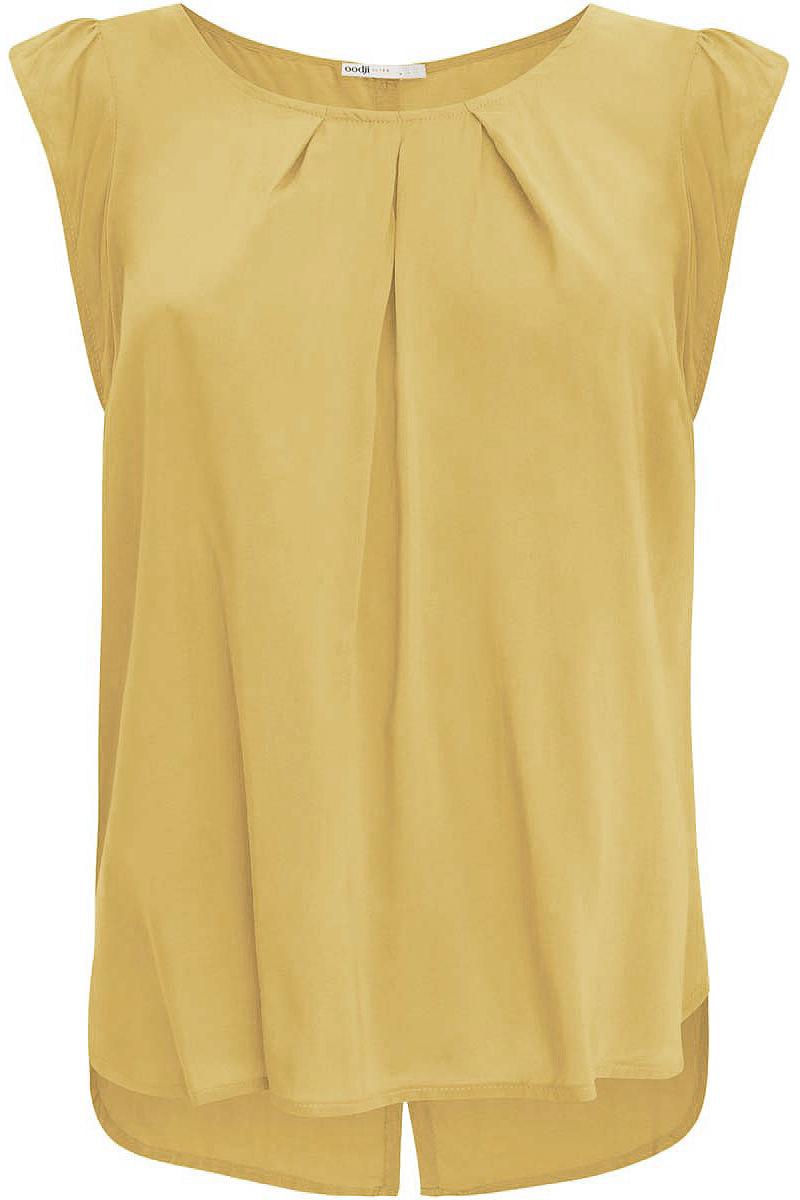 Блузка11403194-1/24681/5200NЖенская блузка oodji Ultra выполнена из вискозы. Модель с короткими рукавами и круглой горловиной. Лицевая сторона оформлена крупными декоративными складками, спинка - вертикальной планкой с пуговицами и разрезом. Низ изделия слегка закруглен, спинка длиннее передней части.