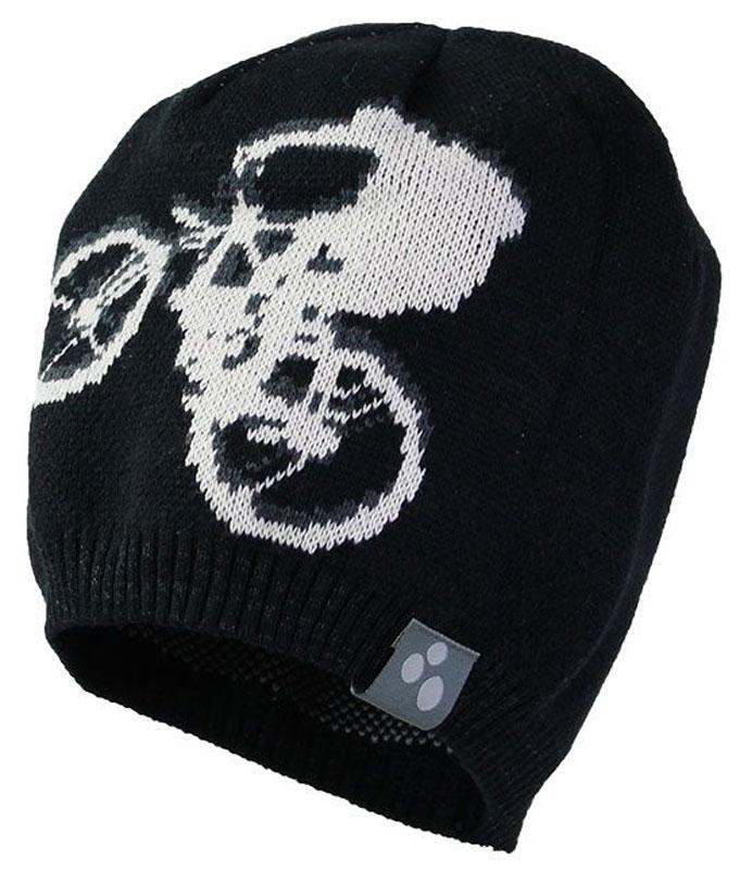 80130000-70009Теплая яркая вязаная шапочка с принтом согреет вашего ребенка в прохладную погоду.
