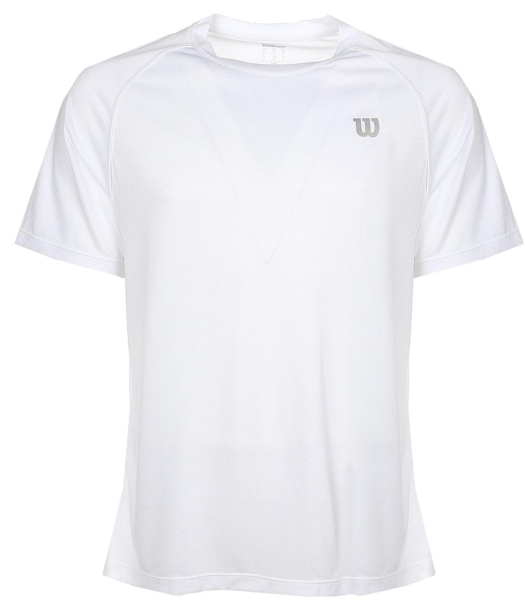 ФутболкаWRA746401Турнирная футболка Wilson Core Crew изготовлена из полиэстера и нейлона. Модель с круглой горловиной и короткими рукавами. Новая структура ткани с перфорацией увеличивает вывод влаги (технология nanoWik) и обеспечивает максимальный контроль на протяжении долгого времени игры или тренировок.