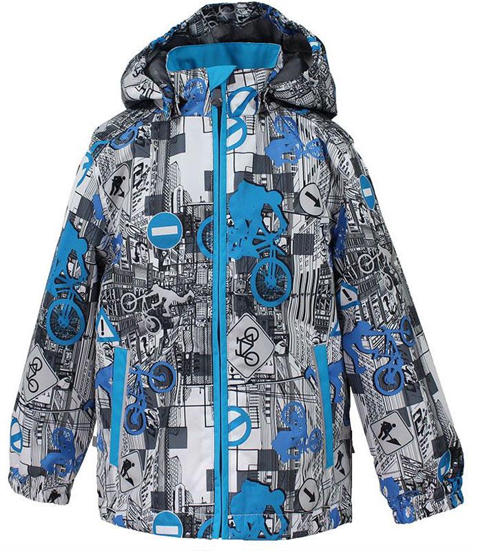 Куртка17000004-72209Куртка для детей. Водо- и воздухонепроницаемость 10 000. Подкладка Тафта 100% полиэстер. Утеплитель 40 гр. Отстегивающийся капюшон на резинке. Манжеты рукавов на резинке. Все швы прокеены. На изделии имеются светоотражательные элементы для безопасности в темное время суток.