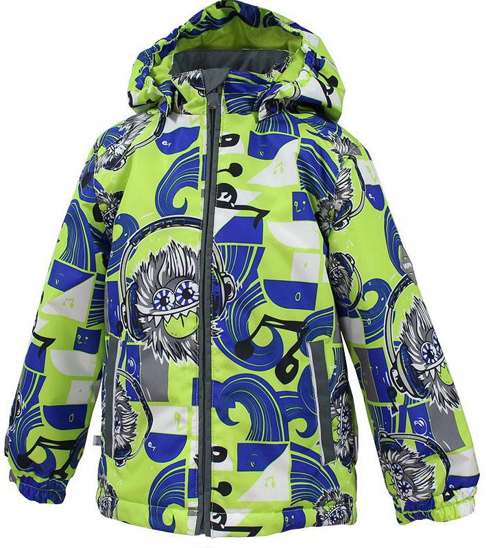 Куртка17000004-72209Куртка с подкладкой для мальчика Huppa c длинными рукавами, воротником-стойкой и съемным капюшоном, выполнена из высококачественного водонепроницаемого и ветрозащитного материала на основе полиэстера. Модель застегивается на застежку-молнию с защитой подбородка спереди. Изделие имеет два прорезных кармана на застежках-молниях. Манжеты рукавов собраны на внутренние резинки. Модель оформлена оригинальным контрастным принтом. На изделии имеются светоотражательные элементы для безопасности в темное время суток.