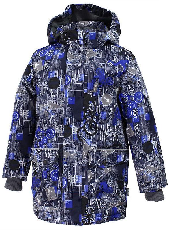 Куртка17640004-72209Куртка для мальчика Huppa Rolf c длинными рукавами, воротником-стойкой и съемным капюшоном на кнопках и липучках выполнена из высококачественного водонепроницаемого и ветрозащитного материала на основе полиэстера. Наполнитель - синтепон. Воротник отделан мягким флисом изнутри. Модель застегивается на застежку-молнию с защитой подбородка спереди и имеет ветрозащитный клапан на липучках. Изделие имеет два накладных кармана с клапанами на кнопках, два открытых накладных кармана и нагрудный карман на застежке-молнии, дополненный узким клапаном. Рукава дополнены внутренними трикотажными манжетами. Объем талии куртки регулируется при помощи шнурка-кулиски. Куртка дополнена светоотражающими элементами, все швы проклеены. Модель украшена оригинальным контрастным принтом. Вес наполнителя - 40 г.