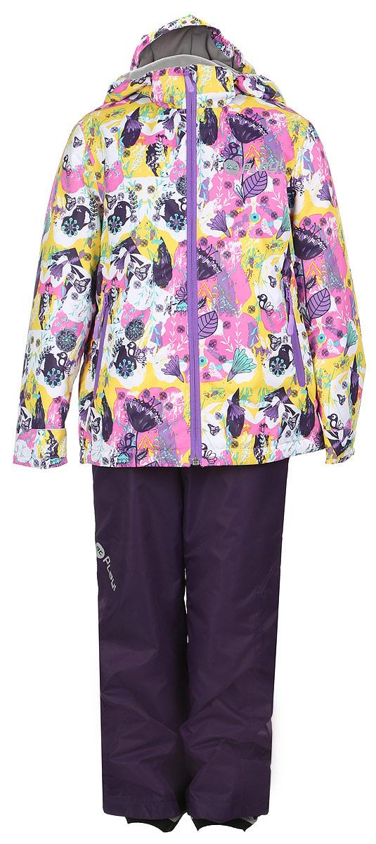 1su715Комплект одежды для девочки atPlay! состоит из куртки и брюк. Комплект изготовлен из водонепроницаемого, дышащего и ветрозащитного материала с покрытием Teflon от DuPont. Дышащая способность: 5000г/м и водонепроницаемость куртки: 5000мм. Пропитка материала предотвращает проникновение воды и грязи. В качестве наполнителя используется утеплитель нового поколения Shelter (80 гм2), который надежно сохраняет тепло. Куртка с воротником-стойка и съемным капюшоном застегивается на застежку-молнию. Капюшон крепится в куртке с помощью застежки-молнии и липучек. Манжеты рукавов оформлены широкими регулирующими хлястиками на липучках, которые предотвращают проникновение снега и ветра. Спереди модель дополнена двумя прорезными карманами на застежках-молниях, с внутренней стороны одним втачным карманом на молнии. Нижняя часть куртки регулируется с помощью эластичного шнурка со стопперами. Куртка оформлена ярким принтом. Брюки застегиваются в поясе на кнопку,...