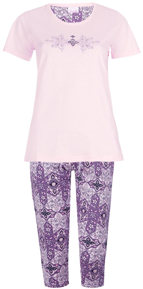 Домашний комплект512002 5379Домашний женский костюм Vienettas Secret Орнамент включает в себя удобную футболку и бриджи. Костюм выполнен из натурального хлопка. Футболка изготовлена с круглым вырезом горловины и короткими рукавами. Бриджи имеют эластичный пояс и затягивающийся шнурок. Оформлен костюм стильным принтом с орнаментом.