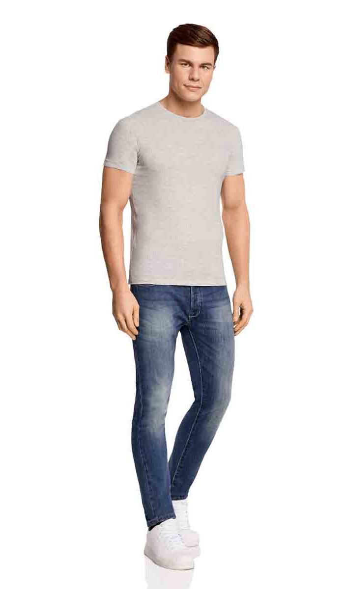 Футболка5B611003M/39272N/2000MКомфортная мужская футболка от oodji с короткими рукавами и круглым вырезом горловины выполнена из натурального хлопка с добавлением вискозы.