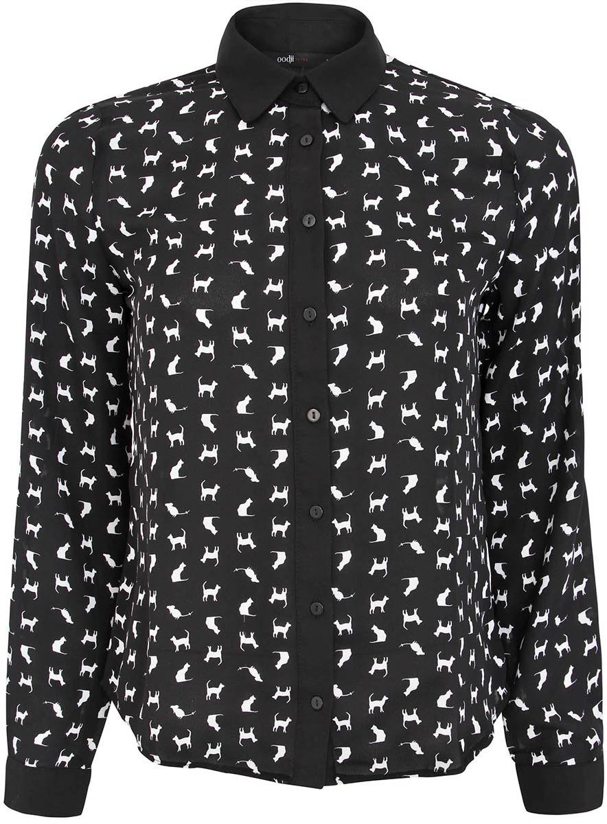 Блузка11400394-1/36215/1229KЖенская блузка oodji Ultra полностью выполнена из полиэстера. Принтованная модель с отложным воротником и длинными рукавами застегивается спереди по всей длине на пуговицы. Рукава, дополненные манжетами с пуговицами, подворачиваются и фиксируются с помощью пуговицы.