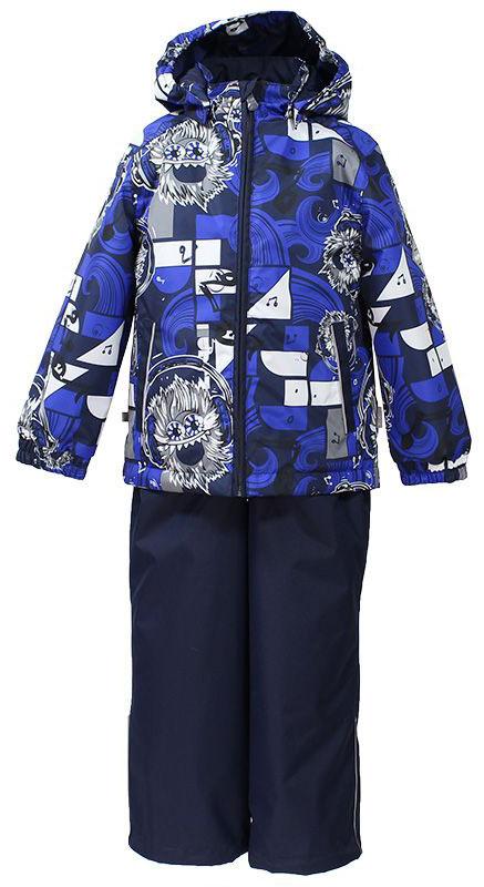 Комплект верхней одежды41190014-72248Комплект верхней одежды для мальчика Huppa состоит из куртки и брюк. Комплект выполнен из водонепроницаемой и ветрозащитной ткани. Куртка с капюшоном и воротником-стойкой застегивается на пластиковую молнию. На рукавах предусмотрены манжеты, препятствующие проникновению холодного воздуха. Спереди расположены два прорезных кармана. Оформлено изделие оригинальным принтом. Брюки спереди застегиваются на пластиковую молнию. Модель дополнена эластичными наплечными лямками, регулируемыми по длине. На талии предусмотрена широкая резинка. Ширина штанин снизу регулируется. Комплект снабжен светоотражающими элементами, которые не оставят вашего ребенка незамеченным в темное время суток.