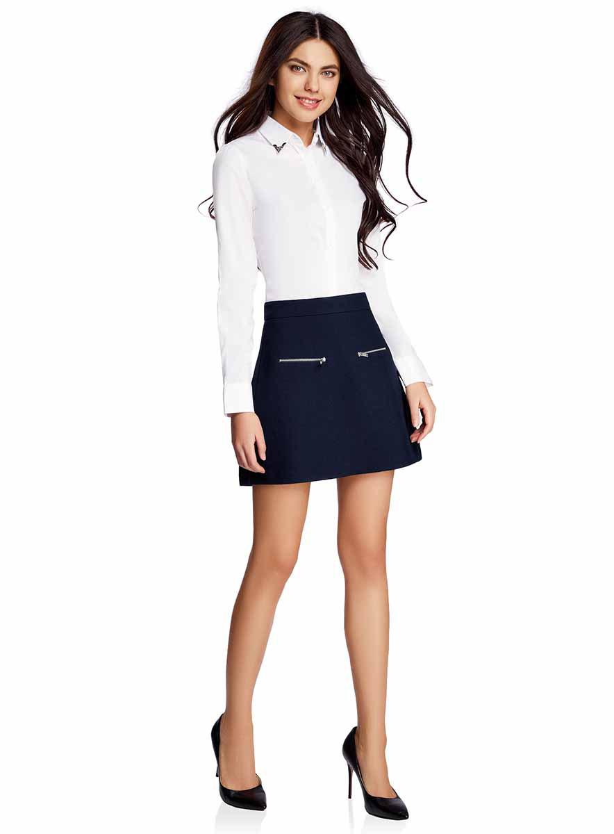 Юбка11600436-2/45976/7900NКороткая юбка-трапеция выполнена из высококачественного материала и спереди дополнена декоративными молниями. Сзади модель застегивается на потайную застежку-молнию.
