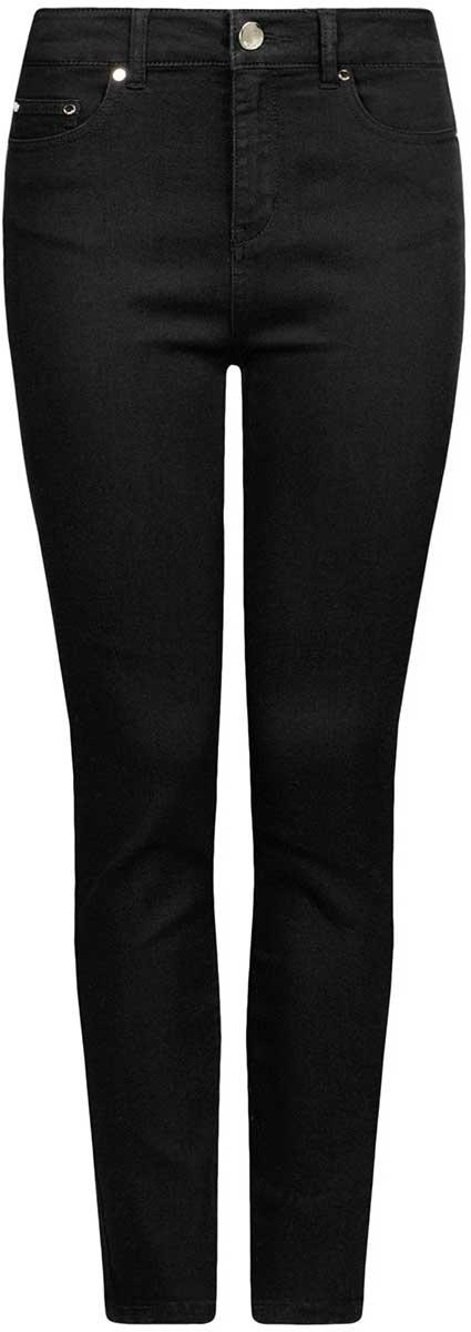 Джинсы12103149-1B/46747/2900NЖенские джинсы oodji Ultra выполнены из высококачественного материала. Модель-скинни средней посадки по поясу застегиваются на пуговицу и имеют ширинку на застежке-молнии, а также шлевки для ремня. Джинсы имеют классический пятикарманный крой: спереди - два втачных кармана и один маленький накладной, а сзади - два накладных кармана.