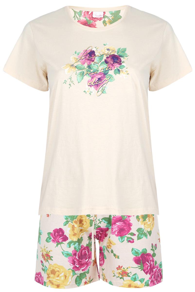 Домашний комплект409105 4007Домашний женский костюм Vienettas Secret Цветы включает в себя удобную футболку и шорты. Костюм выполнен из натурального хлопка. Футболка изготовлена с круглым вырезом горловины и короткими рукавами. По бокам модель дополнена небольшими разрезами. Шорты с завышенной талией имеют эластичный пояс и затягивающийся шнурок. Оформлен костюм красочным цветочным принтом.