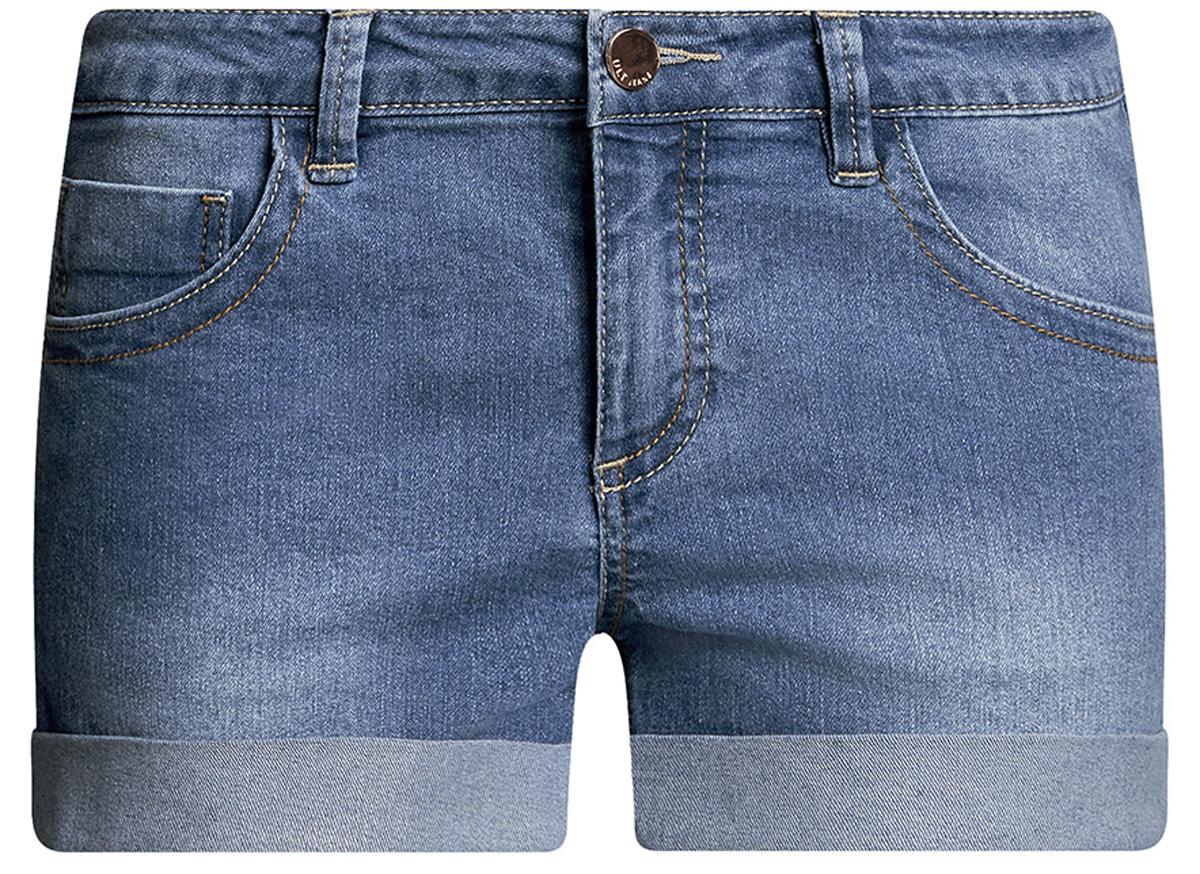 Шорты12807025-3B/46253/7900WСтильные женские шорты oodji Ultra изготовлены из хлопка, полиэстера и эластана. Шорты застегиваются на металлическую пуговицу в поясе и ширинку на молнии. На поясе предусмотрены шлевки для ремня. Спереди расположены два втачных кармана и один накладной кармашек, сзади - два накладных кармана. Шорты оформлены эффектом потертости и декоративными отворотами.