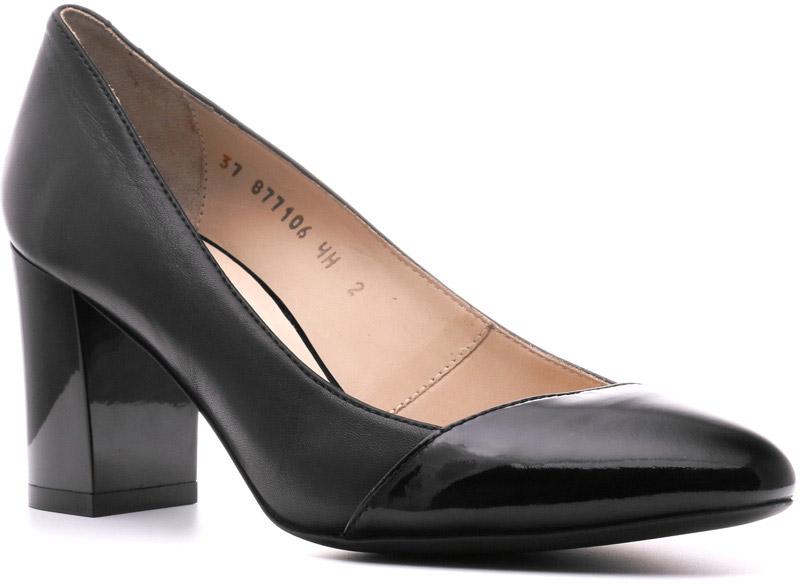 Туфли877106ЧНКожаные туфли Victoria с лаковым носком — элегантное сочетание женственности и делового стиля. Строгие изысканные линии, прямоугольный, но не выглядящий грубым, каблук, отсутствие украшений будут соответствовать самому строгому дресс-коду. Подчеркивают индивидуальность владелицы и ее уверенность в себе.
