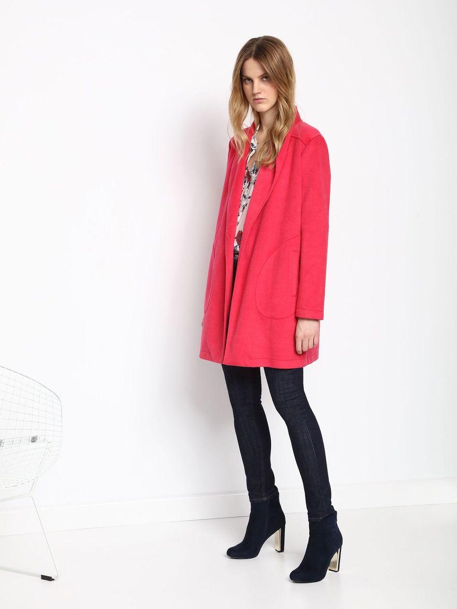ПальтоSPZ0379CEЖенское пальто Top Secret с длинными рукавами и воротником-шалькой выполнено из полиэстера. Пальто не имеет застежек. Изделие дополнено двумя накладными открытыми карманами спереди. Пальто оснащено подплечниками.