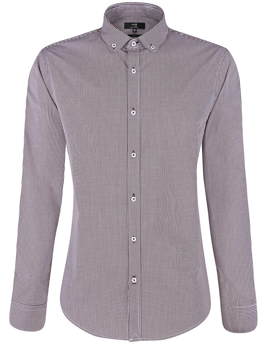 3B110006M/25416N/7910CМужская рубашка oodji Basic выполнена из натурального хлопка. Модель с отложным воротником и длинными рукавами оформлена интересным принтом.