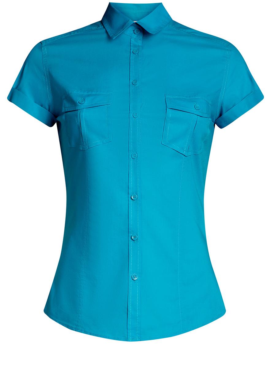 11402084-5B/45510/5200NЖенская рубашка oodji Ultra выполнена из натурального хлопка. Модель с отложным воротником и короткими рукавами на груди дополнена двумя накладными карманами с клапанами на пуговицах.