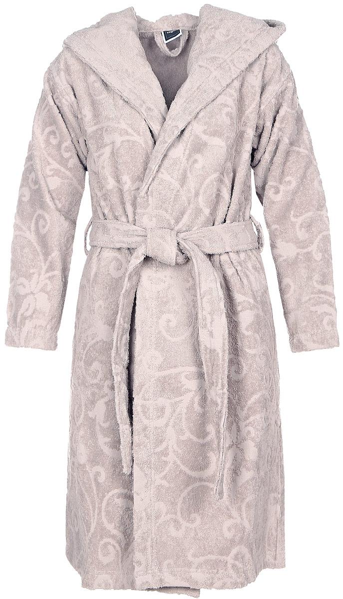 10.00.02.04Женский халат Togas Шарли выполнен из натурального хлопка. Халат с капюшоном и длинными рукавами дополнен поясом на талии. По бокам расположены втачные карманы. Модель оформлена принтом с рельефным узором.