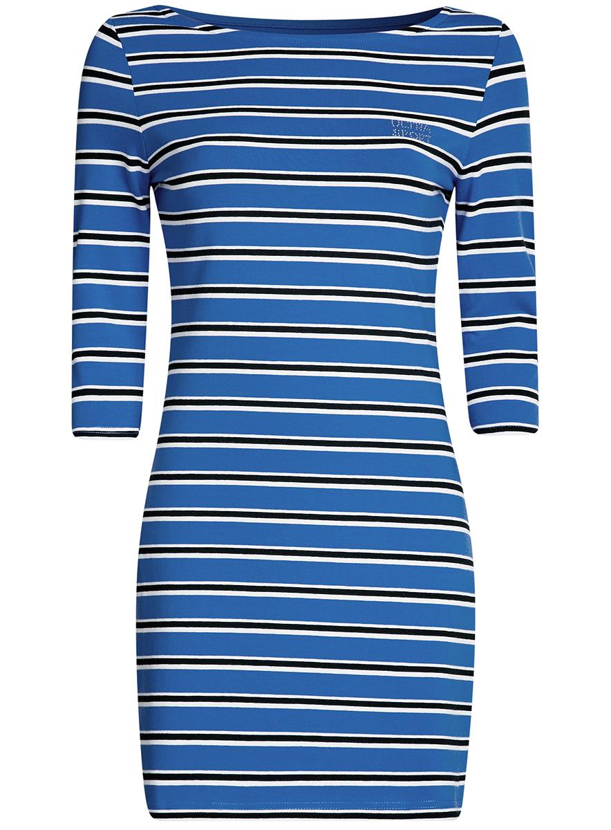Платье14001071-10/46148/6E25SСтильное облегающее платье oodji Ultra Sport, выполненное из эластичного хлопка, отлично дополнит ваш гардероб. Модель мини-длины с вырезом лодочкой и рукавами 3/4 оформлена принтом в полоску и надписью из страз Ultra Sport.