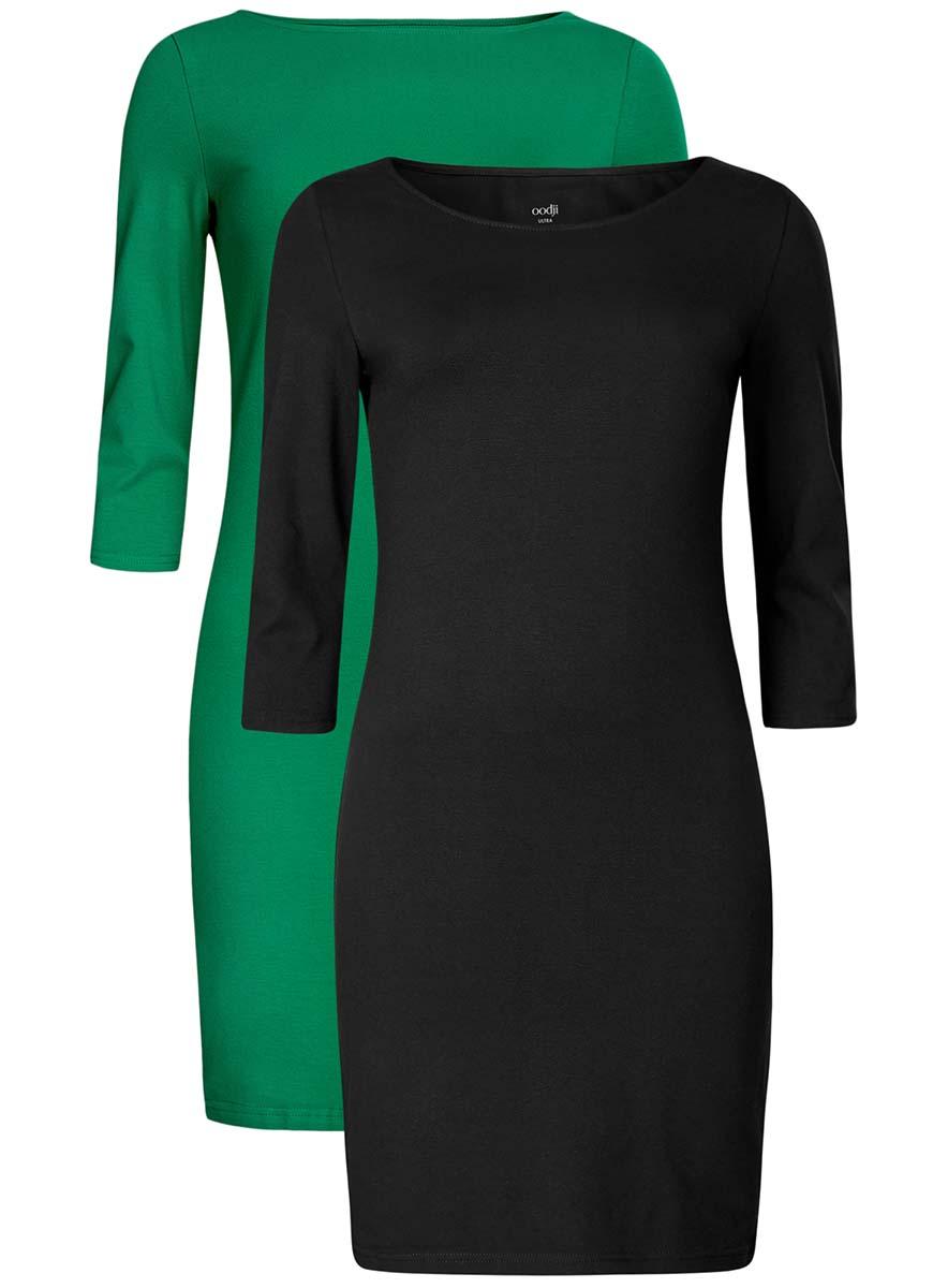 14001071T2/46148/7912NКомплект из двух платьев oodji Ultra изготовлен из хлопка с добавлением эластана. Обтягивающие платья с круглым вырезом и рукавами 3/4 выполнены в лаконичном дизайне. Платья-мини представлены в разных цветах.