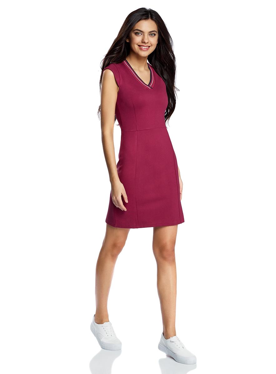 Платье14011014/45248/4900NОблегающее платье oodji Ultra, выполненное из плотного трикотажа, выгодно подчеркнет достоинства фигуры. Модель мини-длины с рукавами-крылышками имеет V-образный вырез горловины, дополненный трикотажной резинкой с контрастными полосками.