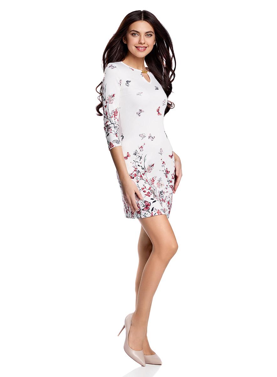 Платье14001173/45344/1245FПриталенное платье oodji Ultra, выгодно подчеркивающее достоинства фигуры, выполнено из качественного трикотажа в мелкий рубчик. Модель мини-длины с рукавами оформлено ярким цветочным принтом с бабочками. Круглый вырез горловины дополнен вырезом-капелькой с металлическим украшением.