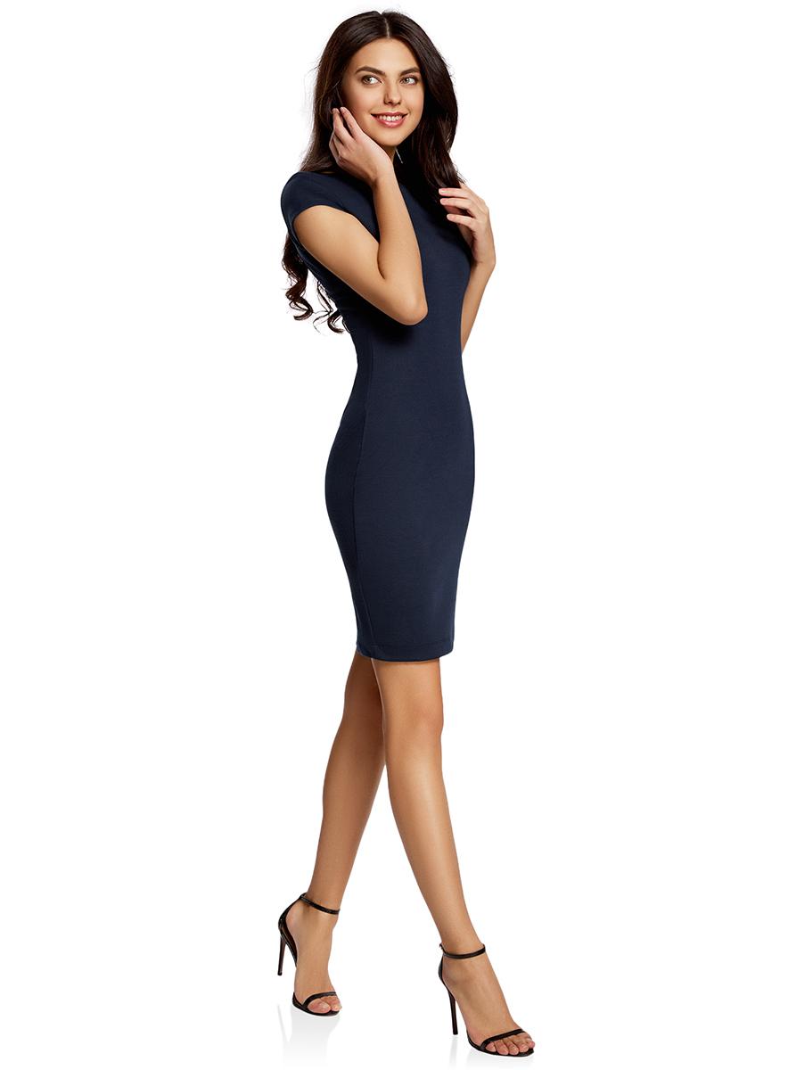 Платье24001114-1/37809/2310FОбтягивающее платье oodji Collection, выгодно подчеркивающее достоинства фигуры, выполнено из качественного трикотажа. Модель средней длины с короткими рукавами дополнена круглым вырезом на спинке.