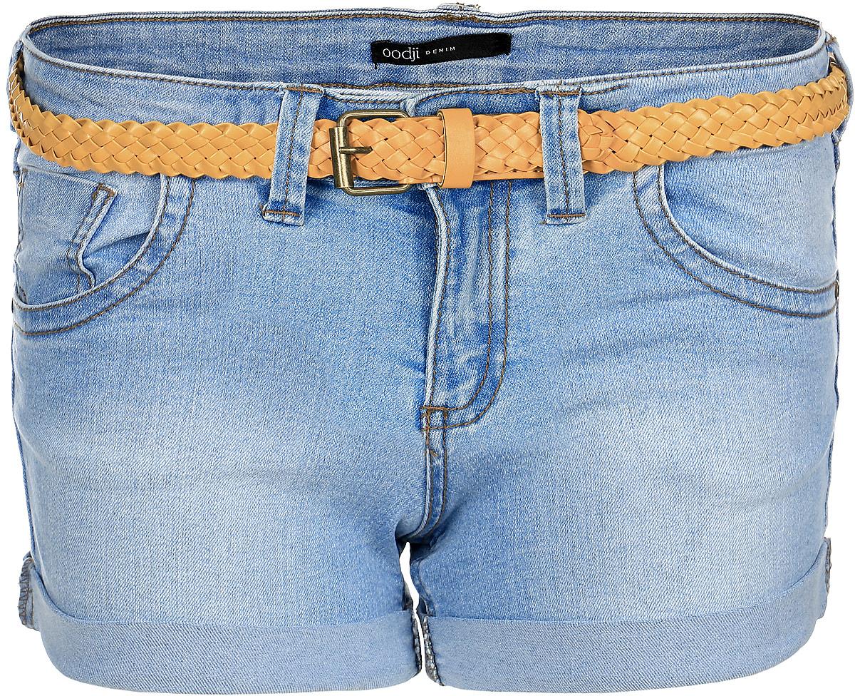 Шорты12807025-2/19603/7500WСтильные женские шорты oodji Ultra изготовлены из хлопка c добавлением полиэстера и эластана. Шорты застегиваются на металлическую пуговицу и имеют ширинку на застежке-молнии. На поясе предусмотрены шлевки для ремня. Спереди расположены два втачных кармана и один маленький накладной кармашек, сзади - два накладных кармана. Модель декорирована бежевой строчкой. В комплекте поставляется плетеный ремешок.