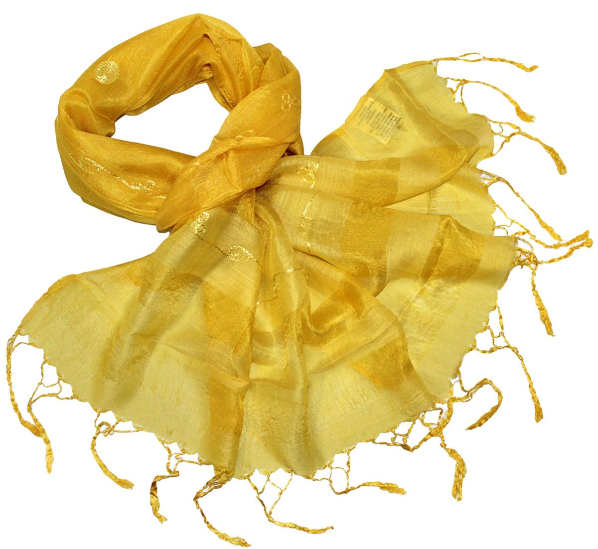 Шарф916225Женский шарф Ethnica, изготовленный из 100% шелка, подчеркнет вашу индивидуальность. Благодаря своему составу, он легкий, мягкий и приятный на ощупь. Изделие оформлено оригинальным орнаментом. Такой аксессуар станет стильным дополнением к гардеробу современной женщины.