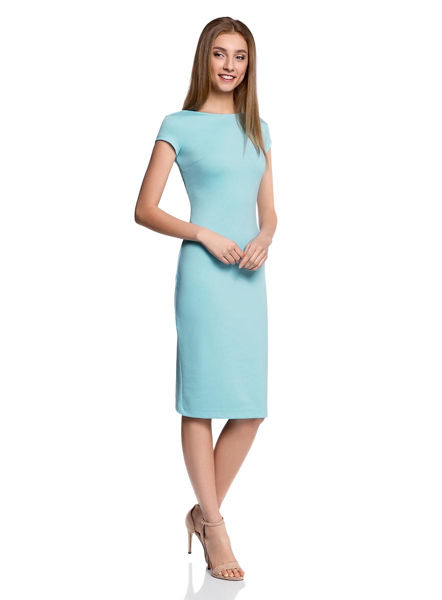 Платье24001104-2/37809/1275FОбтягивающее платье oodji Collection, выгодно подчеркивающее достоинства фигуры, выполнено из плотного трикотажа. Модель средней длины с короткими рукавами дополнена глубоким круглым вырезом на спинке.