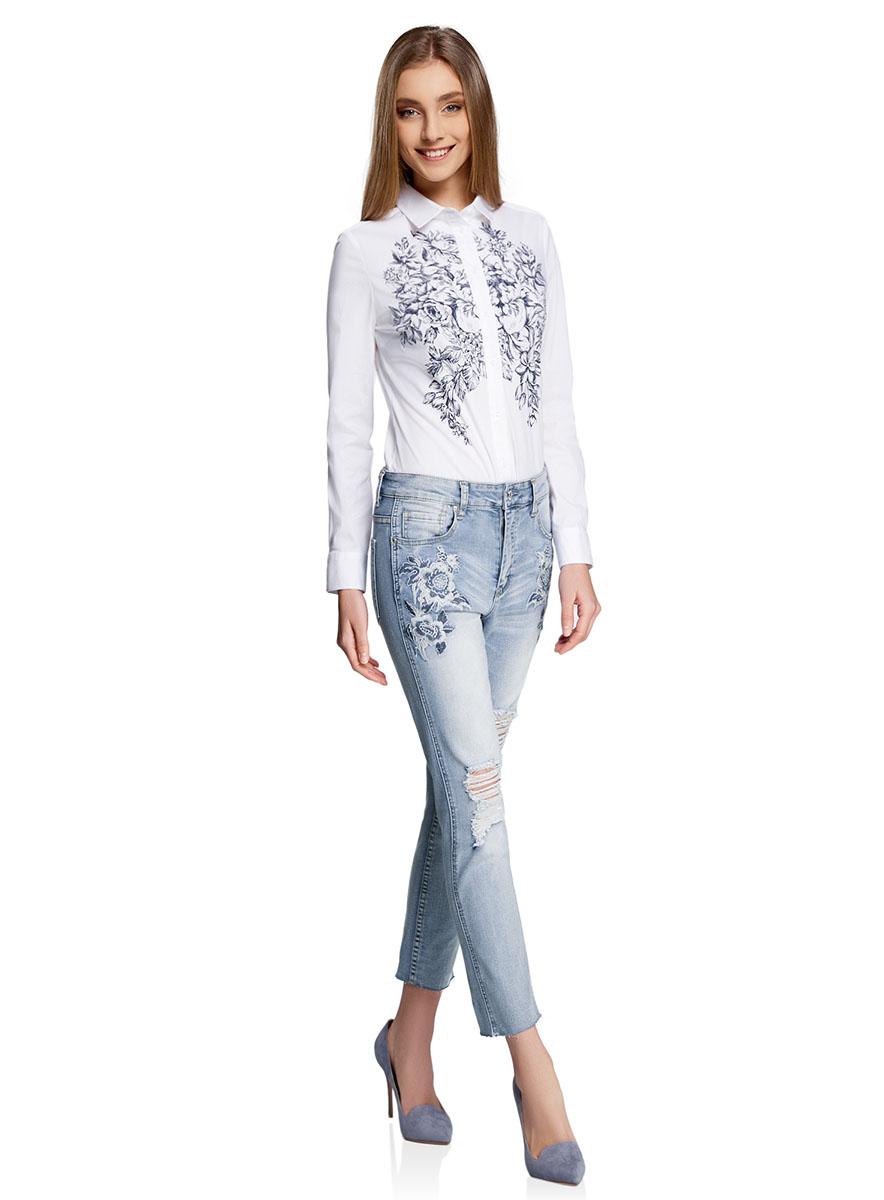 Джинсы12105102/46718/7000WДжинсы slim с вышивкой на карманах