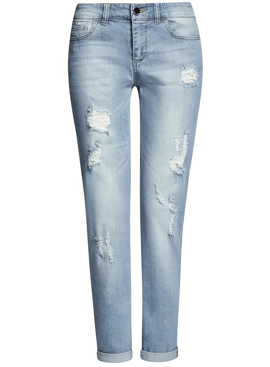 12103151/45379/7000WДжинсы slim с модными потертостями и металлическим декором сзади