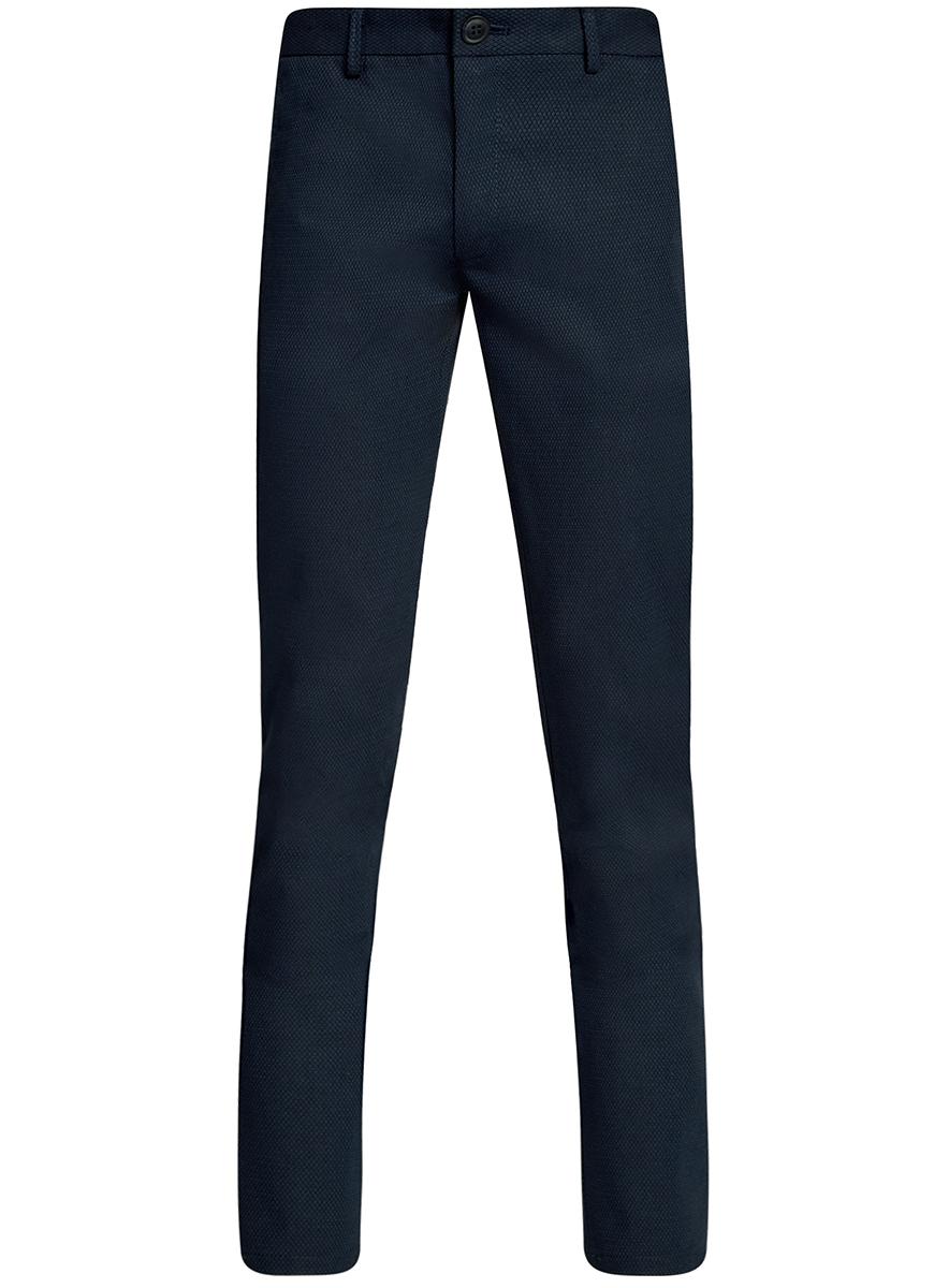 Брюки2L200163M/46309N/2300NМужские брюки oodji Lab выполнены из высококачественного материала. Модель-слим стандартной посадки застегивается на пуговицу в поясе и ширинку на застежке-молнии. Пояс имеет шлевки для ремня. Спереди брюки дополнены втачными карманами, сзади - прорезными на пуговицах.