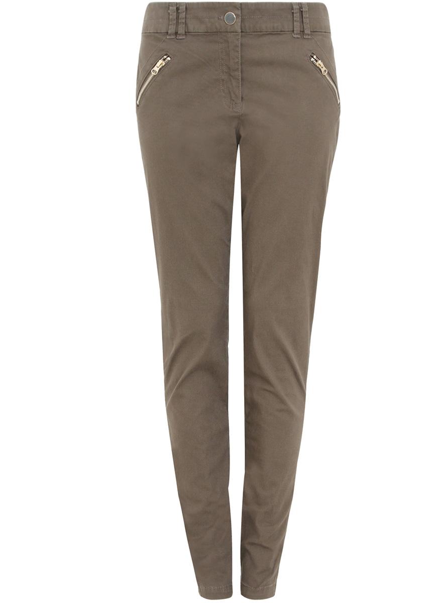 Брюки21703091-2/24770/6800NЖенские брюки oodji Collection выполнены из высококачественного материала. Модель стандартной посадки застегивается на пуговицу в поясе и ширинку на застежке-молнии. Пояс имеет шлевки для ремня. Спереди брюки дополнены втачными карманами на молниях, сзади - прорезными с клапанами.