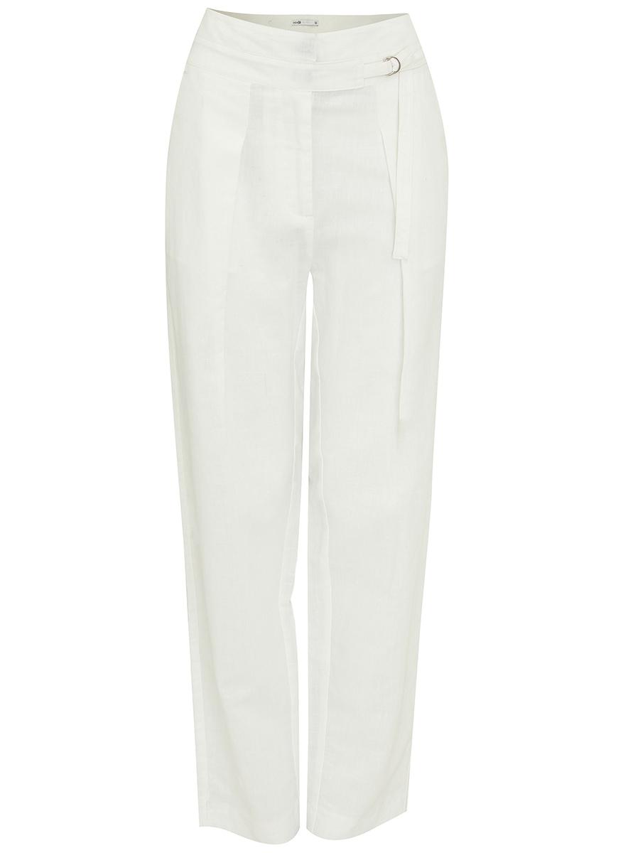 Брюки21705068M/19822/1000NЖенские брюки oodji Collection выполнены из высококачественного материала. Модель завышенной посадки застегивается на крючки в поясе и ширинку на застежке-молнии. Сзади брюки дополнены прорезными карманами.