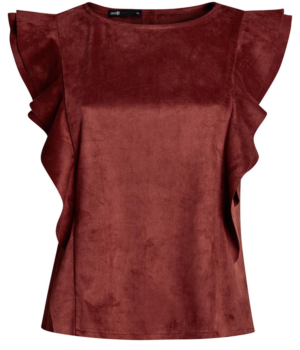 Блузка18K00001/46453/3100NБлузка из искусственной кожи с воланами