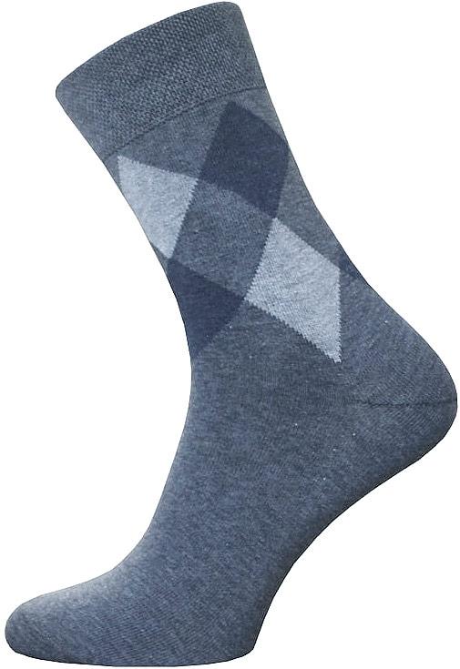 Носки14C2125/044Мужские носки Брестские Classic, выполненные из хлопка с добавлением полиэстера и эластана, оформлены рисунком с ромбами. На модели предусмотрена мягкая эластичная резинка с двойным бортом. Носки хорошо держат форму и обладают повышенной воздухопроницаемостью. Усиленные пятка и мысок обеспечивают надежность и долговечность.