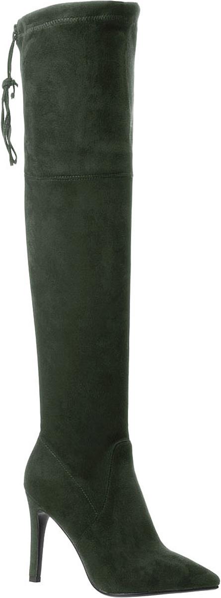 Ботфорты977825/01-01Ботфорты Betsy выполнены из искусственной замши и оформлены прострочкой. На ноге модель фиксируется с помощью застежки-молнии. Объем верхней части изменятся с помощью шнурка. Внутренняя поверхность выполнена из байки, которая обеспечит комфорт при движении. Подошва изготовлена из прочного ТЭП-материала и оснащена высоким каблуком-шпилькой. Поверхность подошвы дополнена рифлением.
