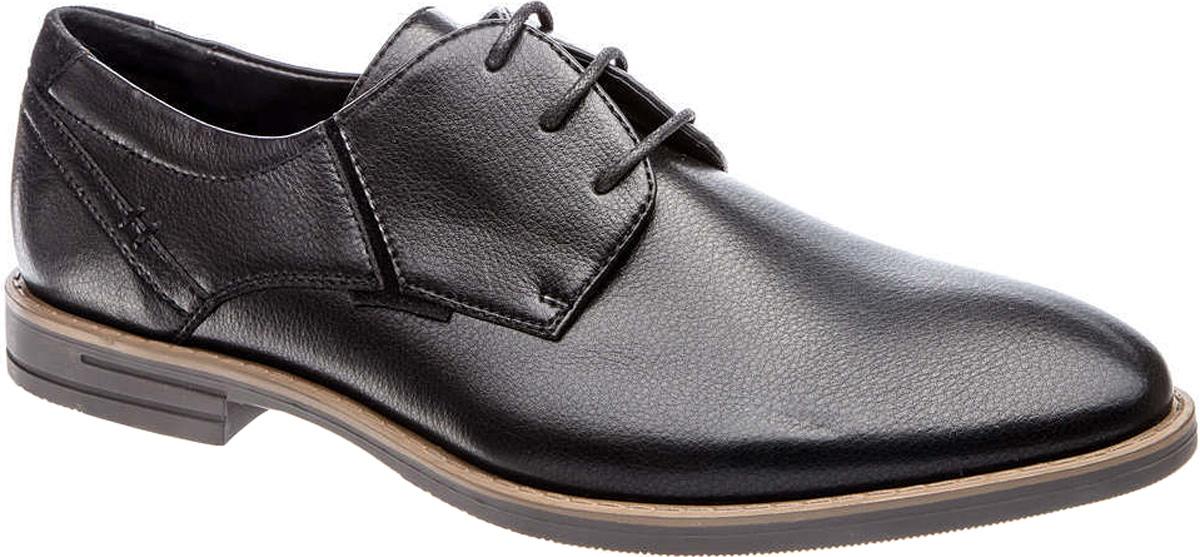 Туфли177034/01-01Мужские туфли Tesoro выполнены из искусственной кожи. На ноге модель фиксируется с помощью шнурков. Внутренняя поверхность из натуральной кожи и текстиля комфортна при движении. Стелька исполнена из натуральной кожи. Подошва изготовлена из прочного полимера и дополнена рельефным рисунком.