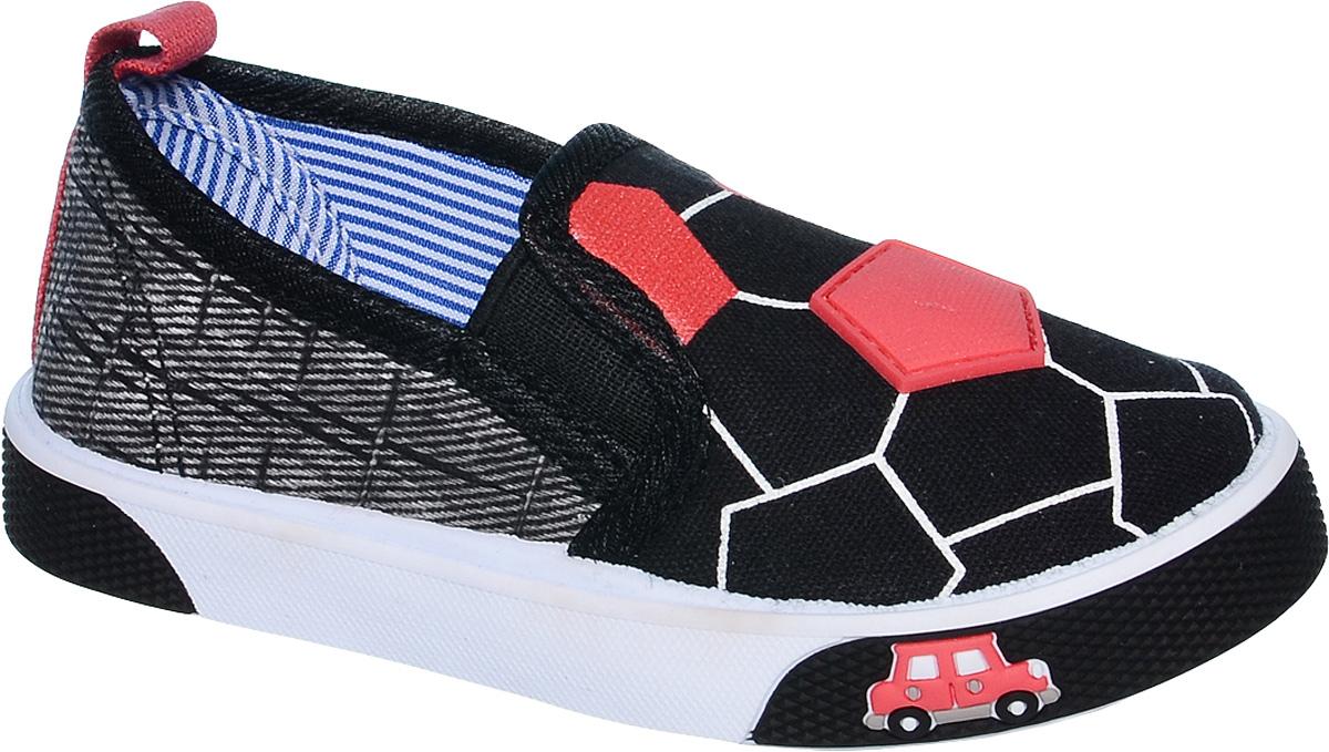 СлипоныB-0914Стильные слипоны от Tom&Miki придутся по душе вашему юному моднику. Модель выполнена из качественного текстиля и дополнена декоративными элементами. На заднике предусмотрена петелька для удобства обувания. Резинки, расположенные на подъеме, отвечают за комфортную посадку модели на ноге. Подкладка и стелька из текстиля обеспечивают комфорт при носке. Гибкая мягкая подошва обеспечивает идеальное сцепление с разными поверхностями.
