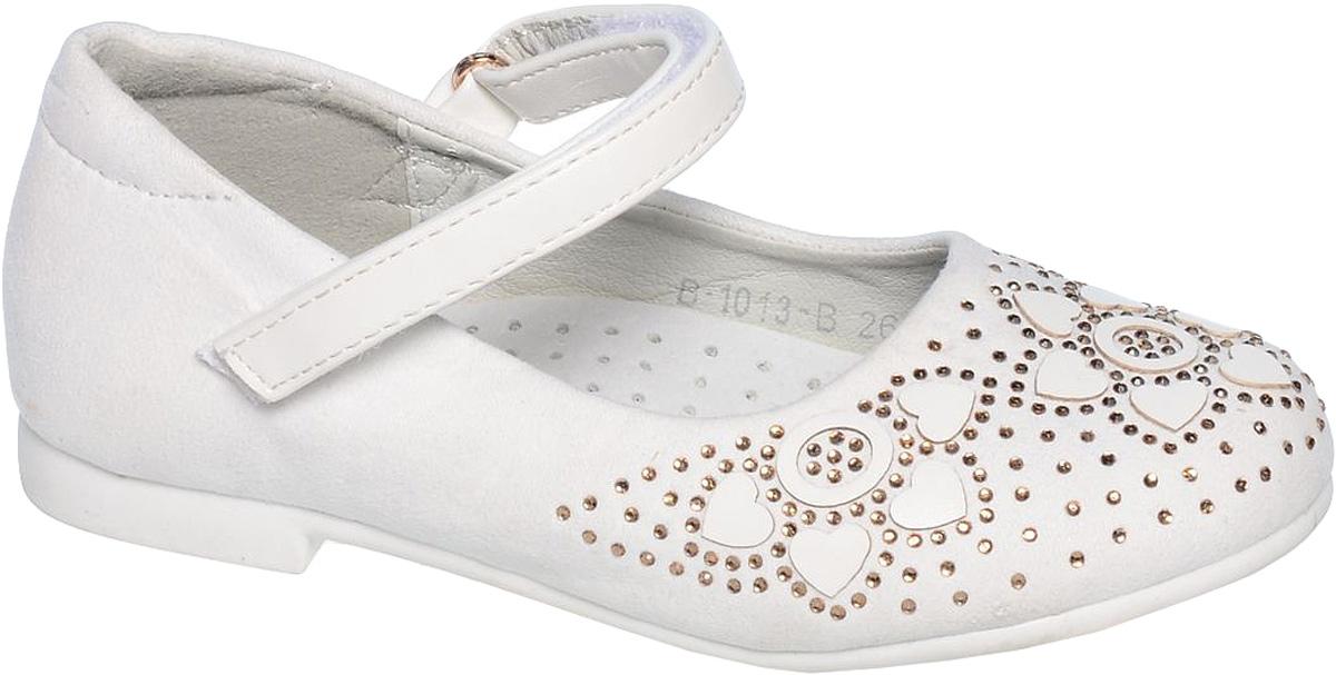ТуфлиB-1013-AСтильные туфли для девочки Tom&Miki выполнены из качественной искусственной кожи. Ремешок с липучкой обеспечит оптимальную посадку модели на ноге. Кожаная стелька с супинатором придаст максимальный комфорт при движении. Носки обуви оформлены стразами.