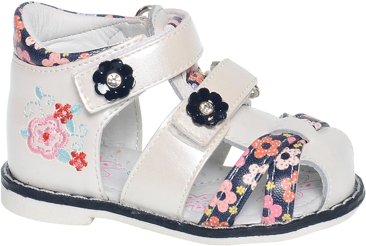 СандалииB-1124-BУдобные и красивые сандалии от Tom&Miki придутся по душе вашей девочке. Модель выполнена из качественной комбинированной кожи. Внутренняя часть и стелька изготовлены из натуральной кожи. Ремешок с застежкой-липучкой прочно закрепит модель на ножке. Носочная часть, как и ремешок, дополнена липучками.