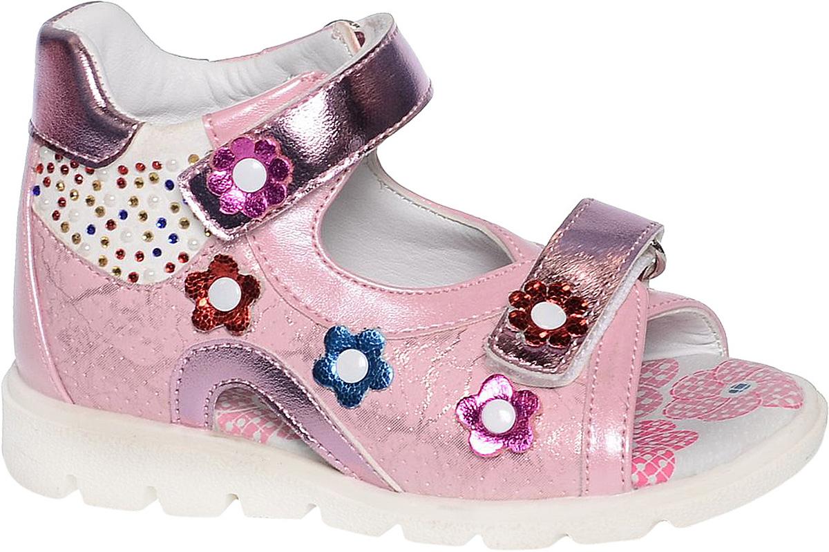 СандалииB-1168-AУдобные и красивые сандалии от Tom&Miki придутся по душе вашей девочке. Модель выполнена из качественной комбинированной кожи. Внутренняя часть и стелька изготовлены из натуральной кожи. Ремешок с застежкой-липучкой прочно закрепит модель на ножке. Носочная часть, как и ремешок, дополнена липучками. Подошва оснащена рифлением для лучшего сцепления с различными поверхностями.