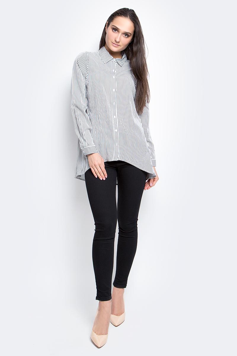 РубашкаB177039_Milk-Dark Navy StripedЖенская рубашка Baon выполнена из 100% вискозы. Модель с отложным воротником и длинными рукавами застегивается на пуговицы. Оформлено изделие принтом в полоску.