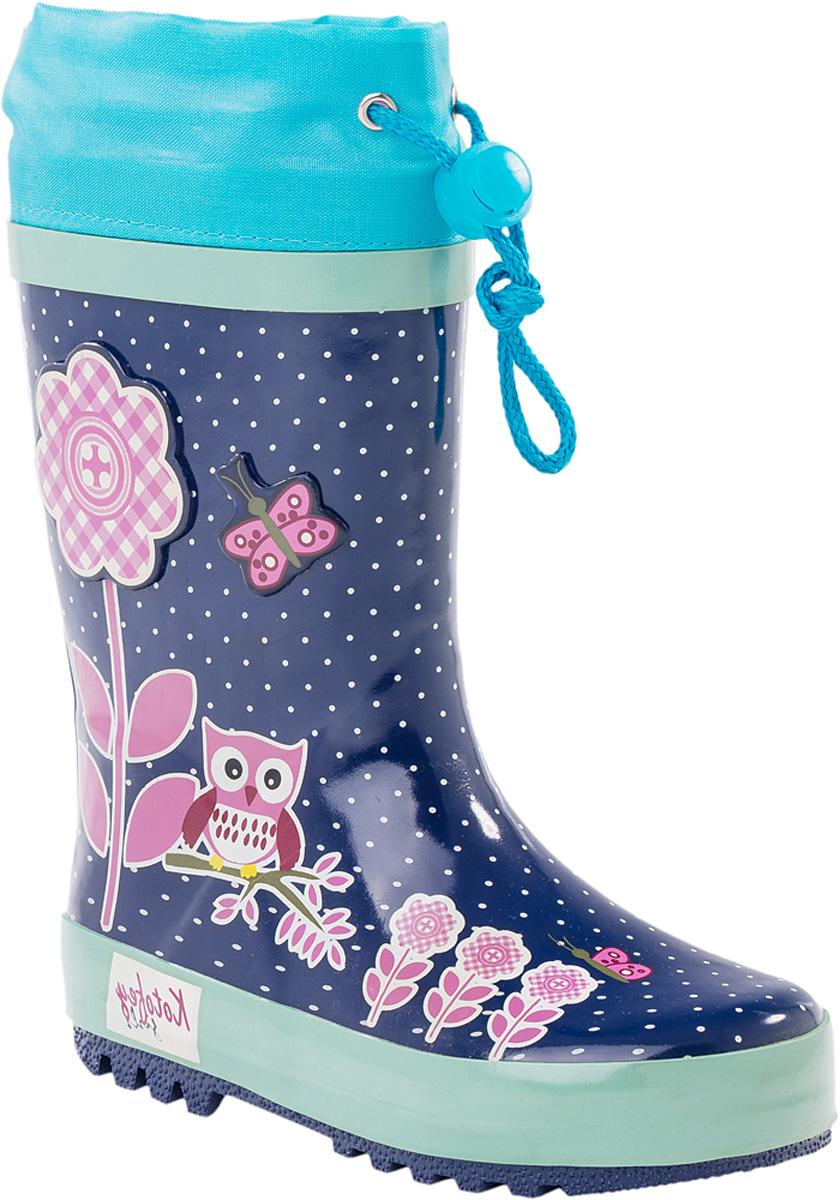 Резиновые сапоги366149-11Резиновые сапоги от Котофей - идеальная обувь в холодную дождливую погоду для вашей девочки. Сапоги выполнены из качественной резины. Голенище оформлено принтом в горох, сбоку - декоративной накладкой и милым изображением. Подкладка и стелька из текстиля обеспечат комфорт. Текстильный верх голенища регулируется в объеме за счет шнурка со стоппером. Подошва дополнена рифлением.