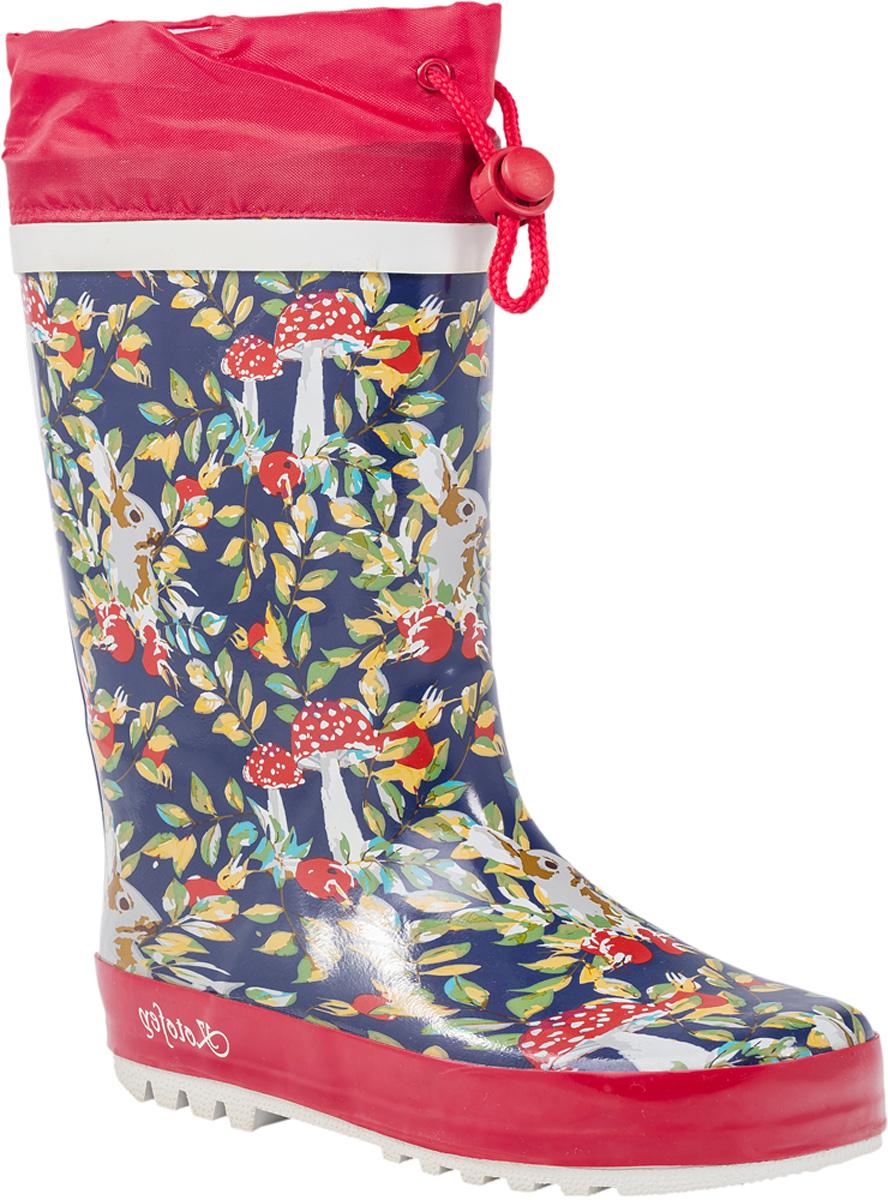 Резиновые сапоги566122-11Резиновые сапоги от Котофей - идеальная обувь в холодную дождливую погоду для вашей девочки. Сапоги выполнены из качественной резины. Голенище оформлено оригинальным принтом. Подкладка и стелька из текстиля обеспечат комфорт. Текстильный верх голенища регулируется в объеме за счет шнурка со стоппером. Подошва дополнена рифлением.