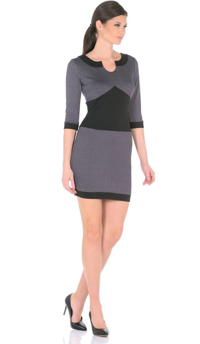 Платье3184-К1Эффектно и изысканно: короткое платье с оригинальным принтом для женственного повседневного образа. Небольшой круглый вырез переходящий в капельку и втачные рукава 3/4 придают модели особое изящество. Вставки из контрастной ткани (обтачка горловины, вставка по талии, манжеты на рукавах и по низу изделия) придают модели особый шарм, привнося в ее лаконичный дизайн дерзкие нотки. В области груди и на спине вытачки для оптимальной посадки по фигуре. Мягкий трикотаж плавно облегает фигуру, виртуозно демонстрируя изящный силуэт. Интересные браслеты и элегантные туфли на каблуках завершат образ женщины, излучающей уверенность в себе. Длина изделия 86-89 см. Состав ткани: 78% вискоза, 19% полиэстер, 3% эластан. Рост модели на фото 170 см (+ каблук).