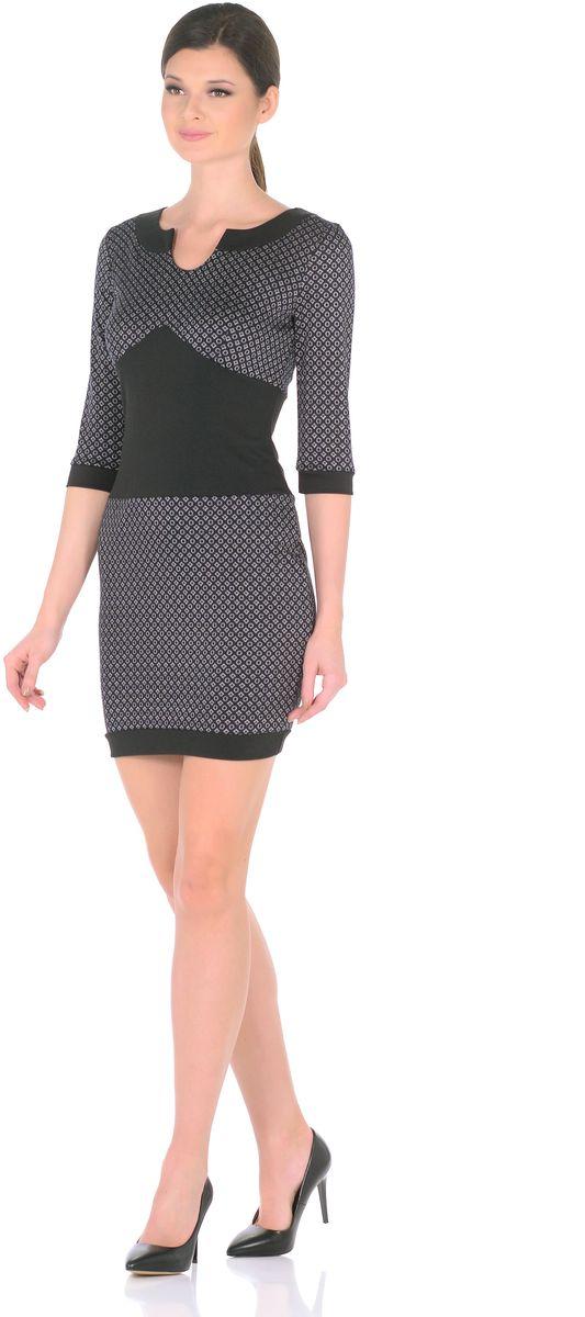 Платье3184-Н11Эффектно и изысканно: короткое платье с оригинальным принтом для женственного повседневного образа. Небольшой круглый вырез переходящий в капельку и втачные рукава 3/4 придают модели особое изящество. Вставки из контрастной ткани (обтачка горловины, вставка по талии, манжеты на рукавах и по низу изделия) придают модели особый шарм, привнося в ее лаконичный дизайн дерзкие нотки. В области груди и на спине вытачки для оптимальной посадки по фигуре. Мягкий трикотаж плавно облегает фигуру, виртуозно демонстрируя изящный силуэт. Интересные браслеты и элегантные туфли на каблуках завершат образ женщины, излучающей уверенность в себе. Длина изделия 86-89 см. Состав ткани: 78% вискоза, 19% полиэстер, 3% эластан. Рост модели на фото 170 см (+ каблук).