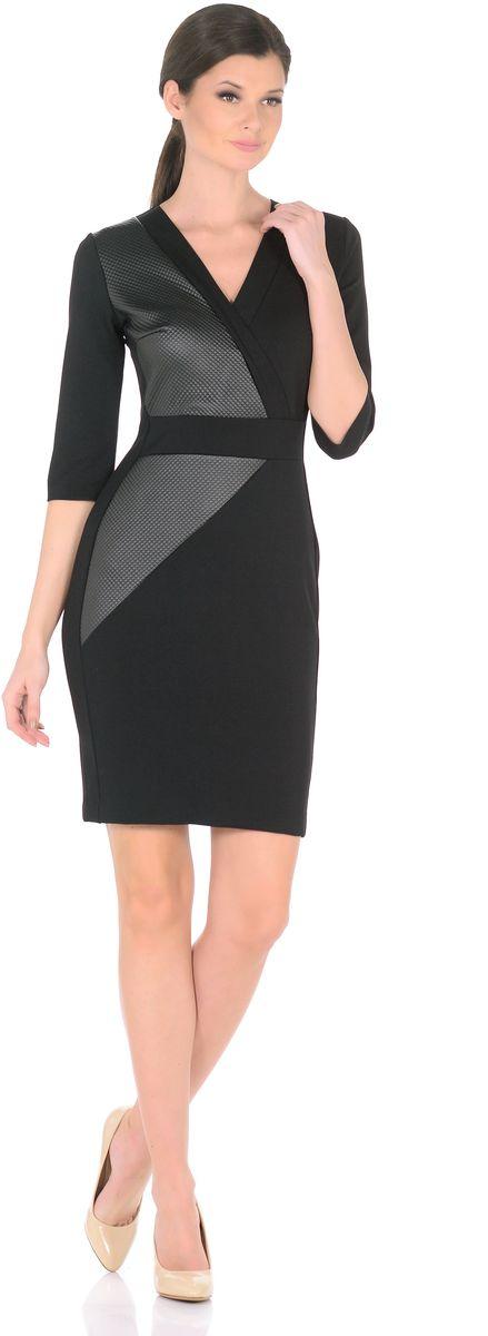 Платье3189-А1-1Сделать офисный образ более женственным легко - поменяйте строгий брючный костюм на элегантное платье от Rosa Blanco. Эффектные вставки из искусственной кожи придают элегантной классической модели дерзкий современный вид. Крой с вытачками выделяет талию и привлекательные изгибы силуэта, благодаря чему модель искусно облегает фигуру, виртуозно демонстрируя изящные женские линии. Глубокий V-образный вырез спереди подчеркивает роскошное декольте, а эффект запаха на вырезе еще больше привлекает к ней внимание. Рукава ? соответствуют актуальным трендам, а разрез сзади обеспечивает свободу движений. На спинке длинная застежка-молния. Плотный и приятный для тела материал стрейч с высоким содержанием вискозы прекрасно сидит по фигуре. Длина изделия 99,5-101 см. Состав ткани: 71% вискоза 24% полиэстер 5% эластан. Рост модели на фото 170 см (+ каблук).
