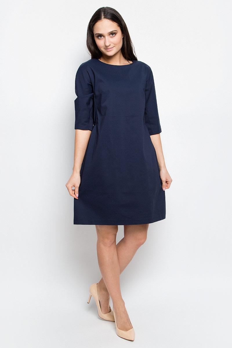 B457020_Dark NavyСтильное платье Baon выполнено из хлопка с добавлением полиамида и эластана. Модель с круглым вырезом горловины и рукавами 3/4 сзади застегивается на застежку-молнию.
