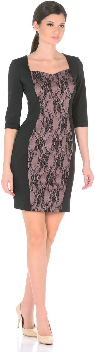 Платье3195-1-С1Безошибочное решение для элегантного стиля - купить платье-футляр от Rosa Blanco. Платье привлекает внимание за счет контрастной вставки из гипюра с цветочным узором. Приталенная модель с рукавом ? прекрасно подчеркивает фигуру, благодаря талевым вытачкам на спине. Кроме того, вертикальная контрастная вставка спереди позволяет выглядеть еще стройнее и изящнее. V-образный вырез горловины подчеркивает зону декольте. В офис, на прогулку, на встречу с друзьями – в нем Вы можете пойти, куда захотите. Длина изделия 95-99 см. Ткань - плотный трикотаж, характеризующийся эластичностью, растяжимостью и мягкостью. Состав ткани: 78% вискоза, 19% полиэстер, 3% эластан. Рост модели на фото 170 см (+ каблук).