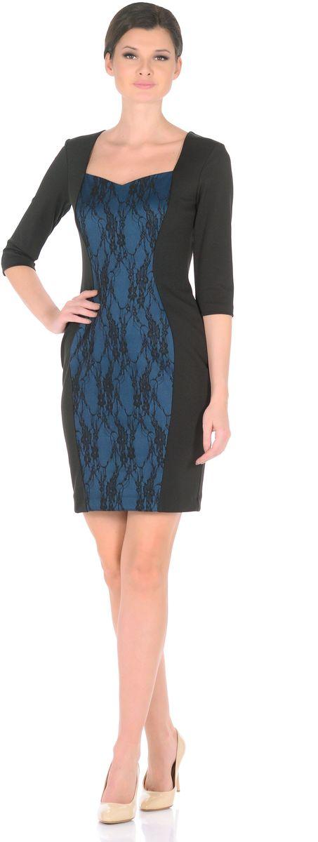 Платье3195-1-С3Безошибочное решение для элегантного стиля - купить платье-футляр от Rosa Blanco. Платье привлекает внимание за счет контрастной вставки из гипюра с цветочным узором. Приталенная модель с рукавом ? прекрасно подчеркивает фигуру, благодаря талевым вытачкам на спине. Кроме того, вертикальная контрастная вставка спереди позволяет выглядеть еще стройнее и изящнее. V-образный вырез горловины подчеркивает зону декольте. В офис, на прогулку, на встречу с друзьями – в нем Вы можете пойти, куда захотите. Длина изделия 95-99 см. Ткань - плотный трикотаж, характеризующийся эластичностью, растяжимостью и мягкостью. Состав ткани: 78% вискоза, 19% полиэстер, 3% эластан. Рост модели на фото 170 см (+ каблук).